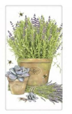 Flour Sack Kitchen Dish Towel Lavender Pot Mary Lake - Thomp