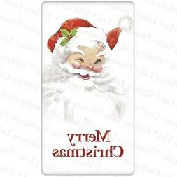 Flour Sack Kitchen Dish Towel Santa Winking Mary Lake - Thom