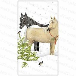 Flour Sack Kitchen Dish Towel Snow Horses Mary Lake - Thomps