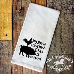 Flour Sack, Tea Kitchen Towel - Wakey Wakey Eggs & Bacey - P