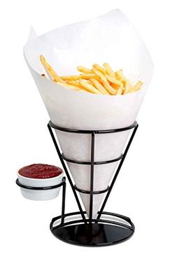 Home-X - French Fry Cone & Dipping Cup Holder, Classic Black