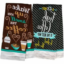 "Fresh Coffee Brewed Theme Kitchen Towel 15"" x 25"" Inches Set"