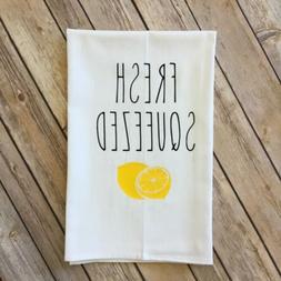 FRESH SQUEEZED Lemon Flour Sack Kitchen Tea Towel Farmhouse