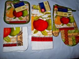 FRUIT APPLES PEARS APPLE KITCHEN DISH CLOTH TOWELS OVEN MITT