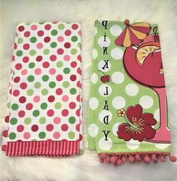 Ritz Full Bloom 2 Kitchen Towels Pink & Green Polka Dot, Hib