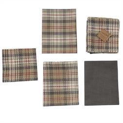 Park Designs GENTRY Plaid 3 Kitchen Dish Towels, 1 Dish Clot