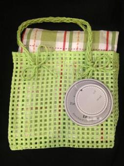 Gift Bag Kitchen Spring Towel & Dish Cloth Set Green Plaid R