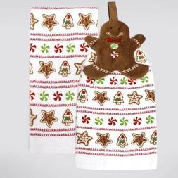 Gingerbread Man Tie Top Kitchen Towel 2pack - New with tags
