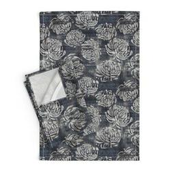 Gray Floral Blooms Watercolor Linen Cotton Tea Towels by Roo