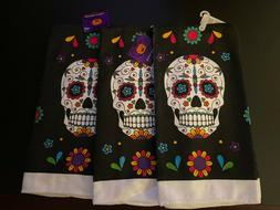 HALLOWEEN DAY OF THE DEAD SUGAR SKULL KITCHEN DISH TOWEL SET