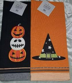 Set of 2 Halloween Hand Towels - Jack O Lantern Stripe - DII