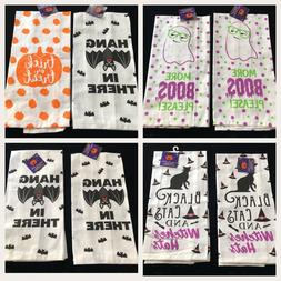 Halloween Kitchen Dish Towels Flour Sack Ghosts Pumpkins Bat