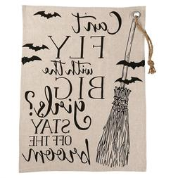 """Mud Pie Halloween Kitchen Towel """" Can't Fly with the Big Gir"""