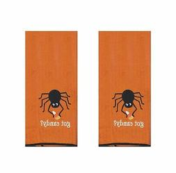 Halloween Kitchen Towels Set of 2 Orange Black Spider Got Ca