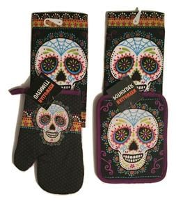 Halloween Sugar Skulls 4 pc Kitchen Linen Set Towels Pothold
