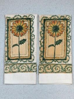Kitchen Hand Towels Fall Sunflower Cream Velour/Terry Cloth