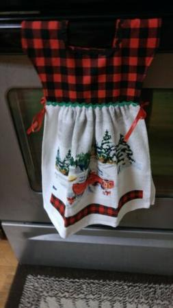 Handmade kitchen towels rooster print red towel