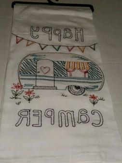 Kay Dee Happy Camper Embroidered Flour Sack Kitchen Dish Tow