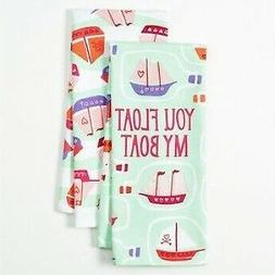 "Happy Valentine's Day Cotton Kitchen Dish Towels ""You Float"