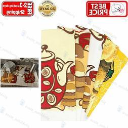HappyBear Kitchen Towels Cotton Terry Dishcloths, 5 Pack, Su