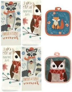 Way to Celebrate Harvest Owl & Fox Set of 4 Kitchen Towels +