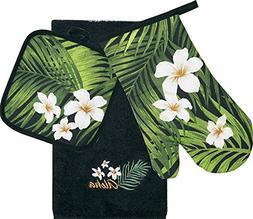 Hawaiian 3 Piece Kitchen Set Dish Towel & Potholder & Oven M