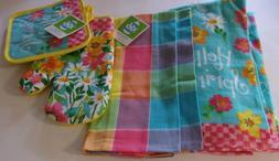 Hello Spring 6 Piece Kitchen Set 4 Towels,1 Oven Mitt, 1 Pot