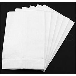 CleverDelights 6 Pack White Linen Hemstitched Hand Towels -