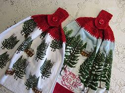 Set of 2 Holiday Double Layer Hanging Kitchen Hand Towels, H