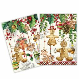"""Holiday Treats"" 2 Kitchen Towels 20x 28""each & Hanging Loop"