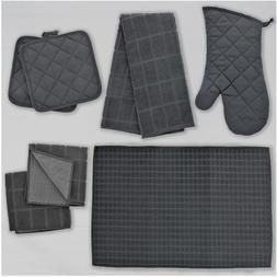 Home Collection Kitchen Grey Dish Towels Drying Mat and Line