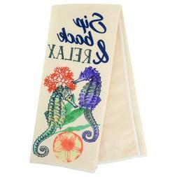 Home Collection Sentiments Coastal Kitchen Towels Sip Back &