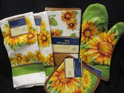 "HOME COLLECTION ""SUNFLOWERS"" Kitchen Towels/Oven Mitt/Dish D"