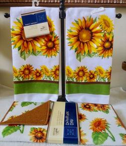 "HOME COLLECTION ""SUNFLOWERS"" Kitchen Towels SET AND Dish Dry"