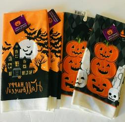 Home HALLOWEEN Kitchen Towels  2 styles- Happy Haloween & Pu