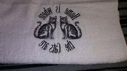 Home is where the cats are  kitchen  hand towels