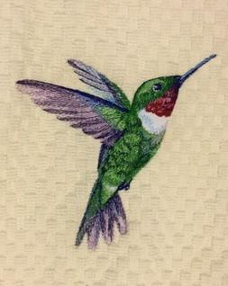Hummingbird Embroidered Ivory Cream Kitchen Waffle Weave Dis