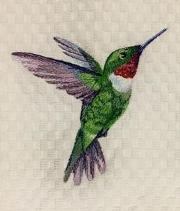 Hummingbird Embroidered White Kitchen Waffle Weave Cotton Di