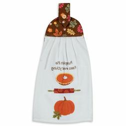 Humorous Autumn Tie Kitchen Towel with Button Hanging Loop 1