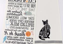 DII Design Imports Cats Kitchen Dish Towels Set of 2 Black W