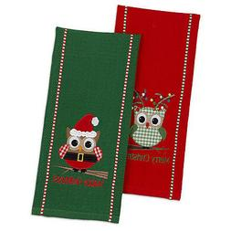 "Design Imports Happy ""Owl""idays Embroidered Dishtowel - Set"