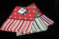 Set of 3 Design Imports Striped Fleur De Lis Cotton Kitchen