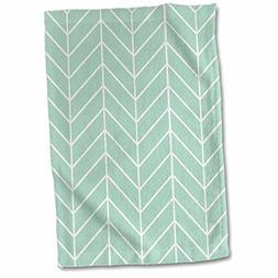 3D Rose Mint Green Herringbone Pattern Trendy Arrow Feather