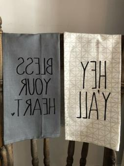 inspired Font! Flour Sack tea towels , farmhouse, Southern k