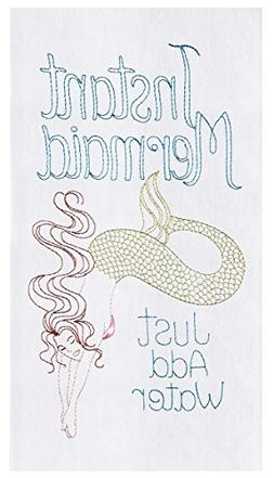 Instant Mermaid Just Add Water Embroidered Flour Sack Kitche