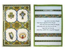 Set of 2 Kitchen Towels Celtic Symbols Irish Blessing Cotton