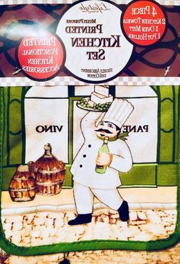Italian Chef 4 Piece Kitchen Set Towels Oven Mitt & Potholde