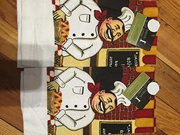 Italian Chef Printed Velour Kitchen Towel set of 2 Towels