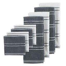 J&M Home Fashions Solid Cotton Ribbed Terry Towel Set,