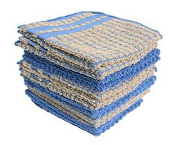 """Cotton 2-Tone Terry Dish Cloths, 13x13"""" Set of 12, Absorbent"""